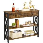 2-Tier Console Table Side Table w/ Drawer and Shelves Entryway Hallway Furniture