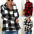 Womens Plaid Checked Sweater Jumper Zip High Neck Pockets Pullover Sweatshirts