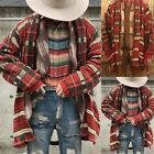 Mens Knitted Plaid Sweater Cardigan Loose Fit Thick Warm Buttons Winter Outwear