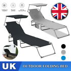 Foldable Outdoor Sun Lounger Recliner Bed Garden Chair Patio Relaxing Camping Uk