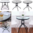 Metal Garden Patio Bistro Table Tempered Glass Tabletop Coffee Table Lounge Home