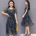 Womens Crew Neck Floral Printed Chiffon Dress Casual Short Sleeve A-Line Dresses