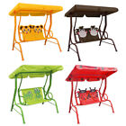 Childrens Kids Swing Chair Bench w/ Canopy Outdoor Garden Toy 2 Seat 4 styles