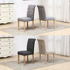 REFURBISHED 2x Fabric High Button Back Roll Top Seat Dining Room Chairs Oak Legs