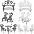 Outdoor Bistro Set Garden Patio Table Chairs Bench Art Furniture Cast Aluminium