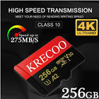256GB Micro SD SDHC Memory Card C10 275MB/S Fast Flash 4K TF Card with Adapter