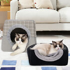 Cat Pet Dog Warm House Cave Beds for Indoor Cats Cozy Wool Igloo Nest Kennel S/L