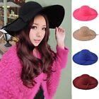 Women Ladies Wide Brim Wool Felt Hat With Bowknot Bowler Fedora Floppy Sun Cap