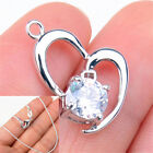 925 Sterling Silver Tarnish-Free 2 Open Hearts Crystal Pendant + Necklace Chain