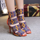 Lady's High Heels Strappy Stilettos Roman Bohemia Open Toe Ankle Boots Sandals