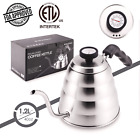 Stainless Steel Tea Coffee Kettle with Thermometer, Gooseneck Thin Spout for Pou
