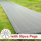 Heavy Duty Fabric Weed Control Membrane Garden Ground Cover Sheet with 50 PEGS