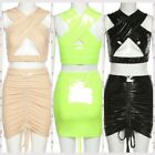 Women Wetlook Skirt Clubwear Outfits Patent Leather Bandage Crop Top Mini Skirt