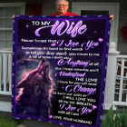 Wolf in The Starry Night Husband to Wife I Love You with All I Am Fleece Blanket