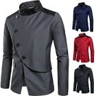 Mens Buttons Stand Collar Costume Casual Coat Long Sleeve Slim Fit Blazer Jacket
