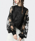 Womens Round Neck Sheer See Through Lace Transparent Long Puff Sleeves Shirt Top