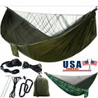 Double Single Camping Hammock w/ Mosquito Net Tree Strap Hanging Bed Swing Chair