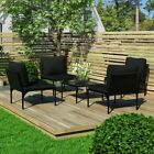 Garden Furniture Set (4 Chairs, 1 Table, Back + Seat Cushions)