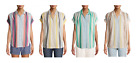 Time and Tru Women's 100% Cotton Button Front Shirt with Rolled Sleeves