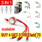 3 IN 1 USB Charger Charging Data Cable Retractable For Android iPhone...