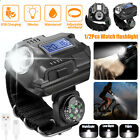 1/2x LED Rechargeable Wrist Watch Flashlight Compass Torch Light Outdoor Hiking